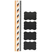 Outside the Box Papers Striped and Chevron Halloween Paper Straws 7.75 Inches 100 Pack Black, White, Orange