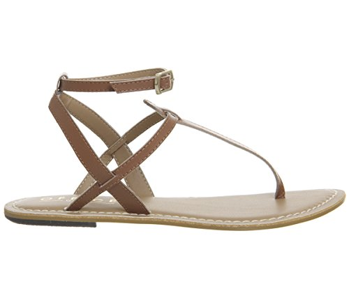 Leather Strap Ankle Tan Salsa Office Toe Sandals Post 0wgx6Eq