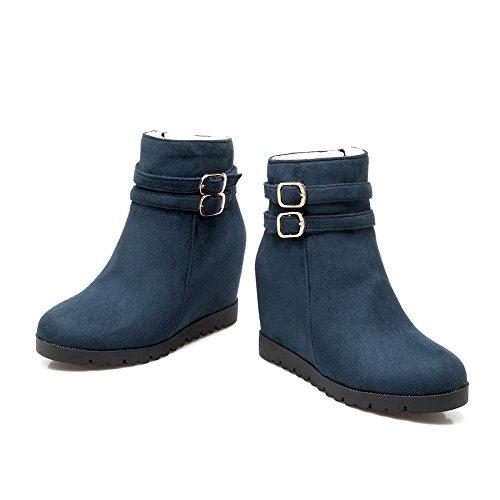 Allhqfashion Women's Round Closed Toe Zipper Imitated Suede Solid High Heels Boots Blue zMhBT2RElf