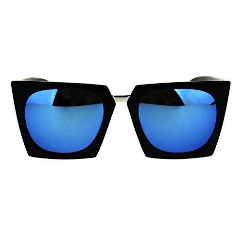 Womens Colored Mirror Squared Rectangular Futuristic 80s Goth Cat Eye Sunglasses Black - Futuristic 80s