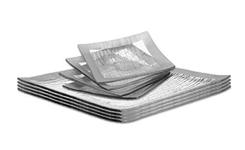 Oven Safe Square Plates - GAC Elegant Tempered Glass Dinner Plates Square and Glass Dessert Plates Set Silver Decorative Serving Plates - Break and Chip Resistant - Microwave Safe - Oven Safe - Dishwasher Safe (Economy Pack)