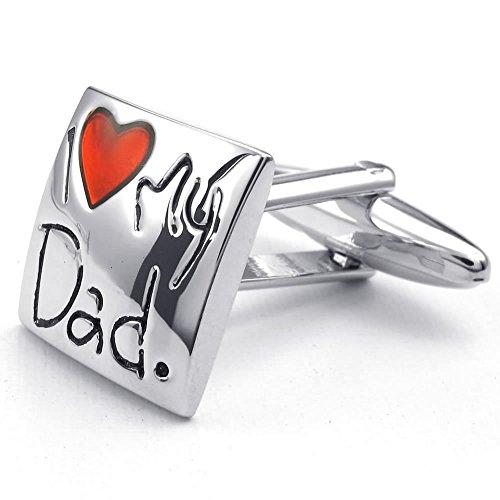 KONOV Herren Manschettenknöpfe, I Love My Dad Quadrat, Legierung, Hemd Manschetten Knöpfe, Rot Silber