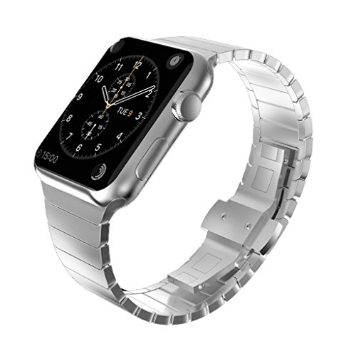 KADES Solid Stainless Steel iWatch Band Link Bracelet Compatible for Apple Watch Series 3/2/1 42mm & Series 4 44mm (Butterfly Clasp, Silver)