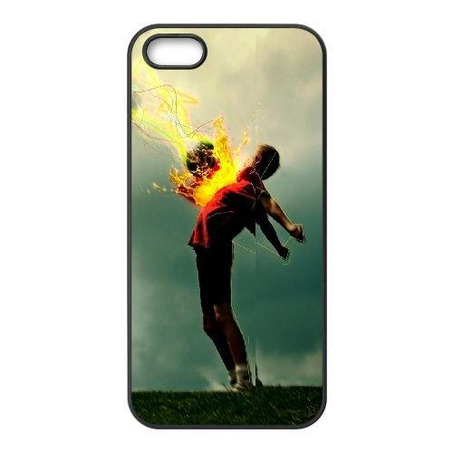Football Ball Boy Pass 2824 coque iPhone 5 5S cellulaire cas coque de téléphone cas téléphone cellulaire noir couvercle EOKXLLNCD23723