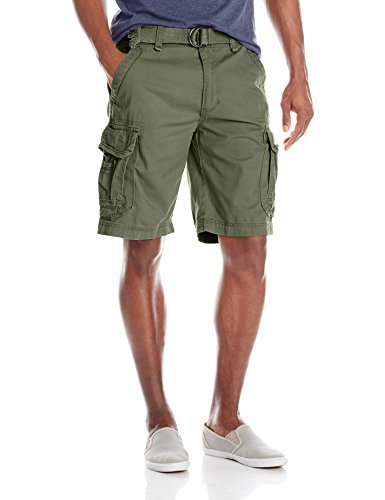 UNIONBAY Men's Survivor Belted Cargo Short, Military, 36 by UNIONBAY