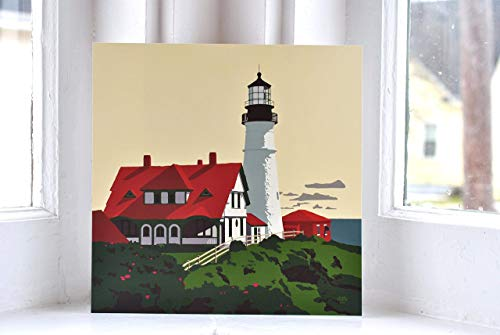 (Portland Head Light, Maine Print (8x8 Square, Wall Decor Art))