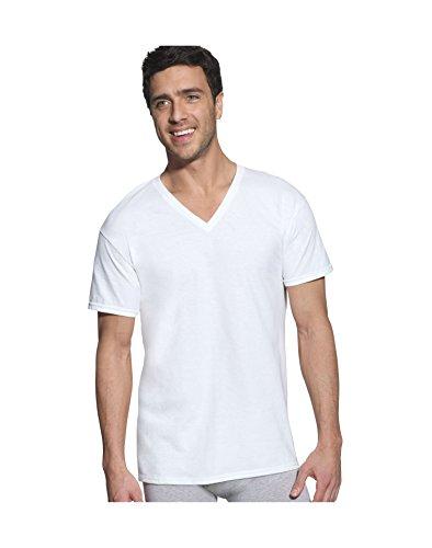 Hanes Classic Mens White V-Neck T-Shirt P6, White, Size - M