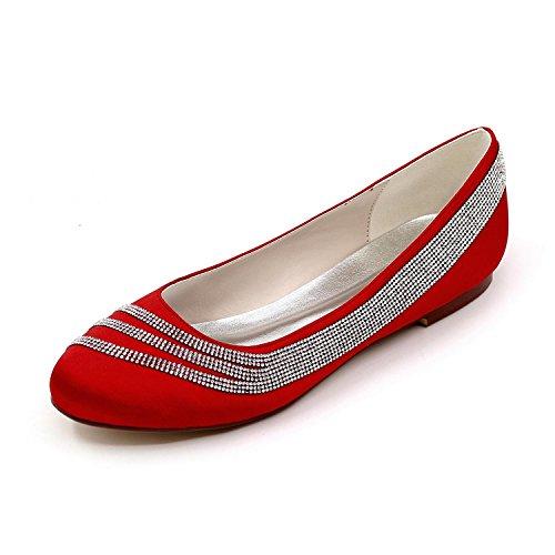 L@YC Mujer Pisos Comfort Satén Estiramiento Satén Primavera Verano Otoño Boda Confort / Multicolor yardas grandes Red