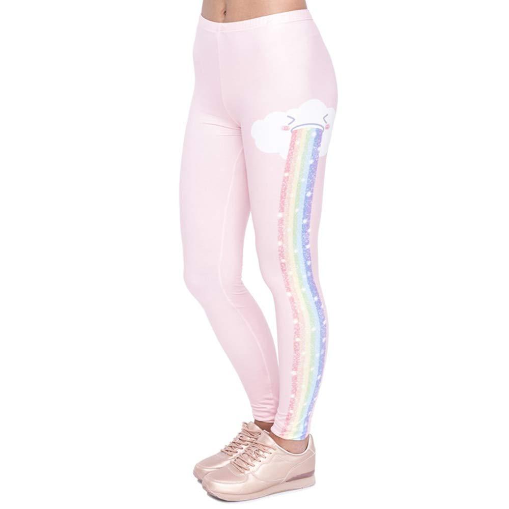 YUYOGAP Elegantes Design Frauen Leggings Regenbogen Regen Druck Mode Kawaii Leggings Hohe Taille Frau Hose