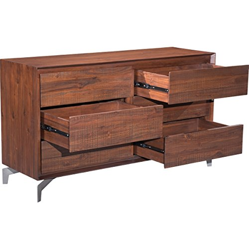 Zuo Modern 100587 Perth Double Dresser, Urban Rustic Six Drawers, Large Storage Piece, Sturdy Modern Iron Base, 150 lbs Weight Capacity, Dimensions 55.1