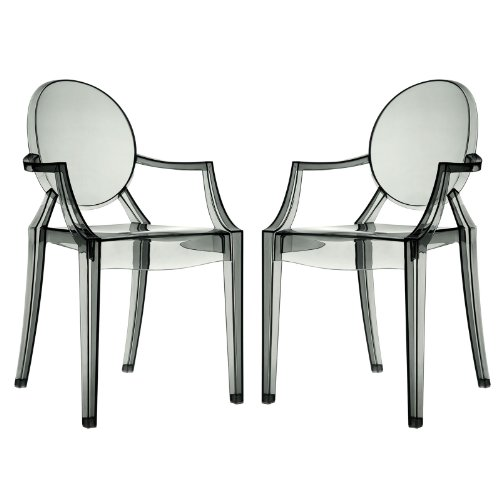 Modway Casper Modern Acrylic Dining Armchairs in Clear - Set of 2 Clear Living Room Chair