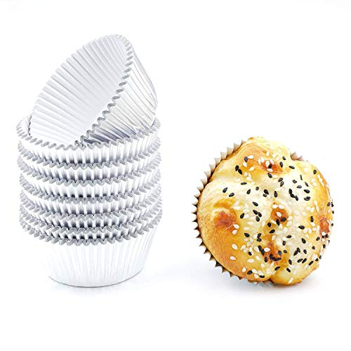 Bakuwe Silver Foil Cupcake Liners Standard Muffin Baking Cups, Pack of 200