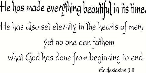 Ecclesiastes 3:11 Wall Art, He Has Made Everything Beautiful in Its Time, He Has Also Set Eternity in the Hearts of Men, Yet No One Can Fathom What God Has Done From Beginning to End, Creation Vinyls