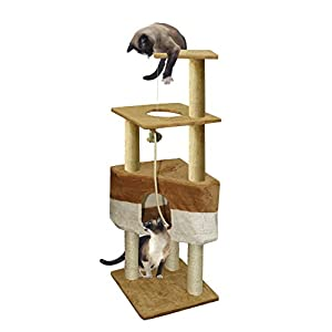 Paws & Pals 16x16x50 Cat Tree House w/Scartching Post Towers, Hammock Bed, Pet Toy and Ropes, Multi Level, 8 Level Condo Stair - Brown
