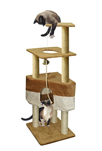 OxGord 16x16x50 Cat Tree House w/Scartching Post Towers, Hammock Bed, Pet Toy and Ropes, Multi Level, 8 Level Condo Stair - Brown