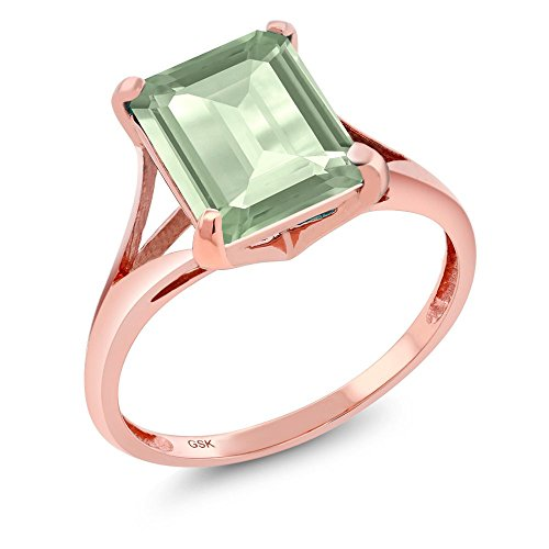 2.90 Ct Emerald Cut Green Amethyst 14K Rose Gold Women's Ring (Ring Size 9) (Gold Ladies Fashion Amethyst Ring)