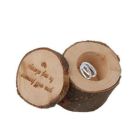 Caja de almacenamiento de madera caja de anillos de boda, diseño de corazones con de
