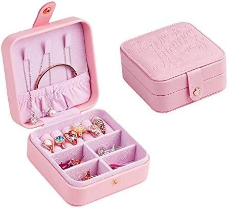 ジュエリーボックス、ジュエリーオーガナイザー、携帯用トラベルケース、リング用、イヤリング、ネックレス、ベルベットの裏地(ピンク)
