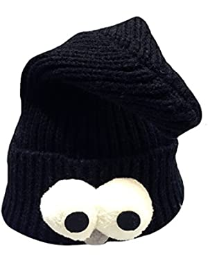 Warm Knitted Hat Cute Big Eyes Beanie Hat for Infants and Toddlers, Black