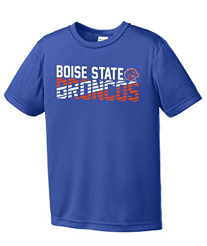 Image One NCAA Boise State Broncos Youth Boys Diagonal Short sleeve Polyester Competitor T-Shirt, Youth Large,Royal (State Boise Broncos Basketball)