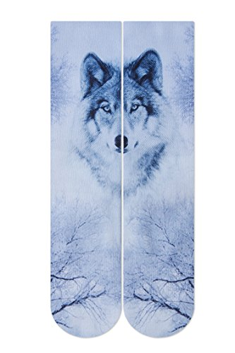 RAISEVERN Crazy Funny Ice Wolf Novelty 3d Print Footwear Casual Athletic Sports Crew Tube Socks