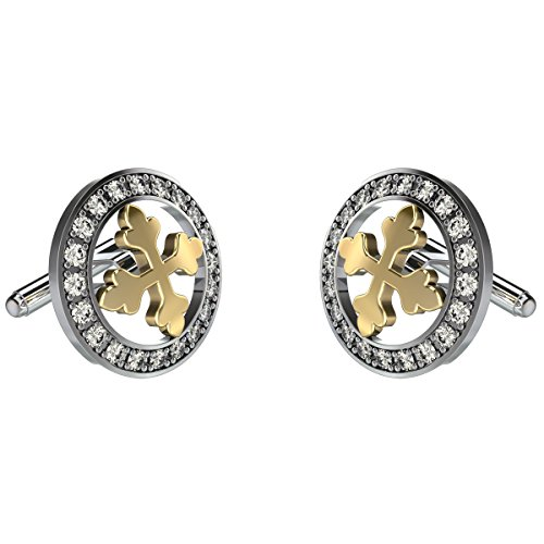 10k Yellow Gold Cufflinks (Yellow Gold Diamond Cufflinks For Men in 10K Gold and 0.60Ct Diamonds)