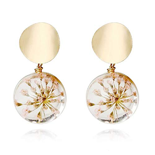 i&D Jewelry Gold Plated Real Flower Earrings Pink Pressed Flowers Dangle Dry Flower Drop Earrings Bridesmaid Gift (Pink) (Starfish Mini Earrings)