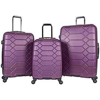 Image of Luggage Aimee Kestenberg Women's Diamond Anaconda 3-Piece Set: 20', 24', 28', Plum/Gold