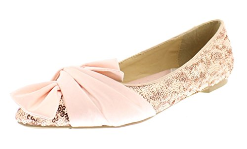 Pink Shimmer Ballerina - Gold Toe Women's Vivie Metallic Sparkle Sequin Satin Bow Ballet Flat Heel Pump Slip On Loafers Dress Shoe Champagne 8 US