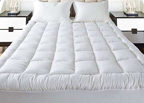 Mattress Topper Full 54x75 Inches Quilted Plush Down Alternative Pillow Top Fitted Skirt Protector Mattress Pad Reviver Enhancer Deep Pocket Fits 8-21 Inches Soft White Bed Cover