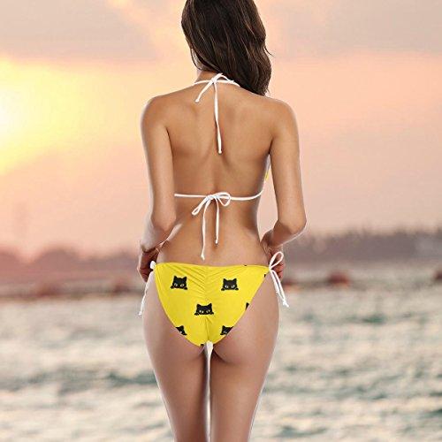 Gato Ba Multicolor o Dos Mujer Negro ador Gatito Ba Amarillas Bikini Piezas Alaza q4Pvtq