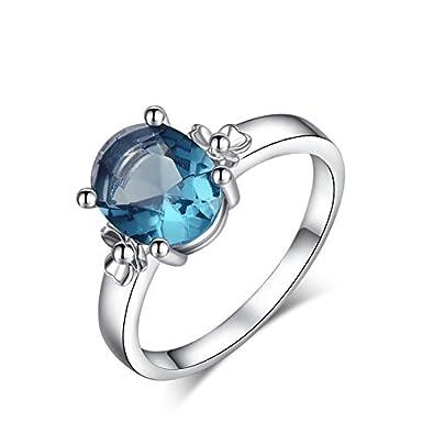 6374e16c8 Buy Carina Power Blue Fashion Designer Diamond 18K White Gold Plated  Swarovski Crystal Stud Finger Ring for Women Girl Online at Low Prices in  India ...