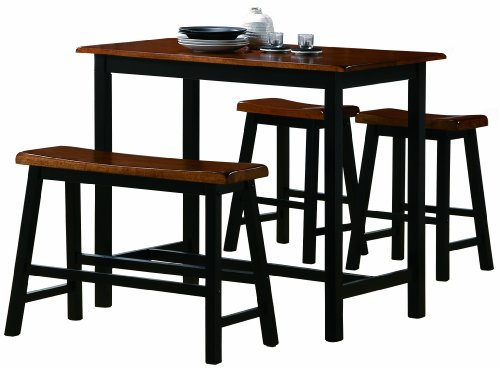 Crown Mark Tyler 4-Piece Counter Height Table - Dining Oak Set Rectangular Table