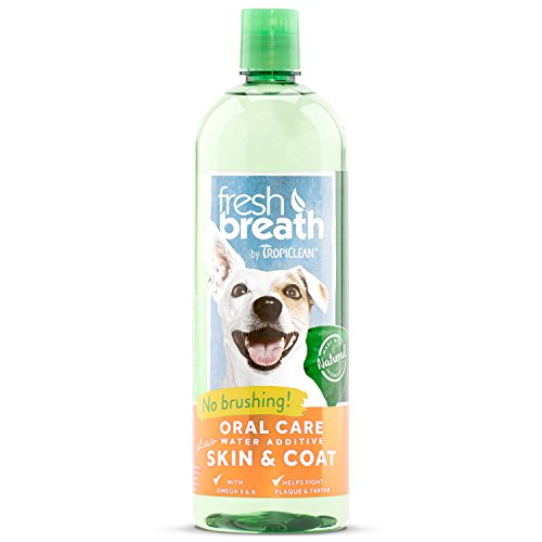 TropiClean Fresh Breath Oral Care Water Additive Plus Skin & Coat, 33.8oz