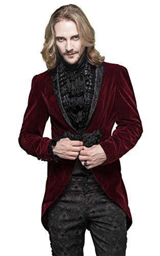 Steampunk Coat Burgundy Victorian Gothic Punk Pirate Tailcoat Renaissance Blouse Mens Halloween Costumes (Burlesque Clothing Men)