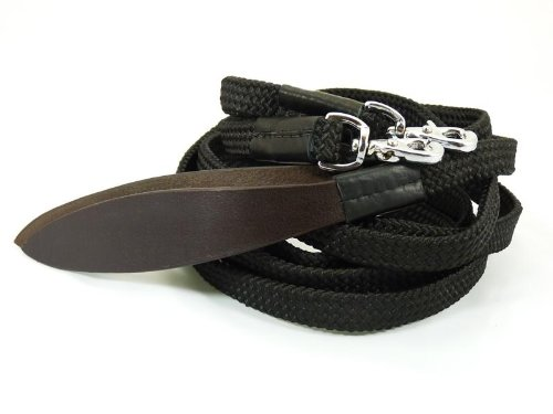 Western Zügel Polycotton flach mit Lederpopper und Snaps Split Reins schwarz