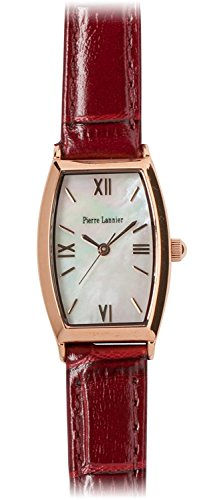 PIERRE LANNIER watch tonneau watch pink gold / Croco Press Bordeaux P131D990 C56 Ladies