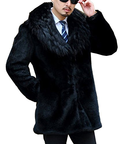 S&S Men Winter Fashion Warm With Fur Collar Faux Fur Mink Coat Overcoat ()