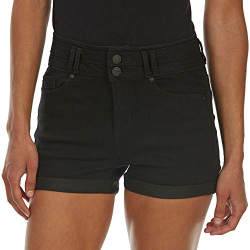 BLUE SPICE Juniors High-Rise 2-Button Stacked Waist Roll Cuff Denim Shorts Black ()