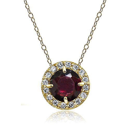 Yellow Gold Flashed Sterling Silver Garnet and Cubic Zirconia Accents Round Halo Necklace (Yellow Gold Garnet Necklace)