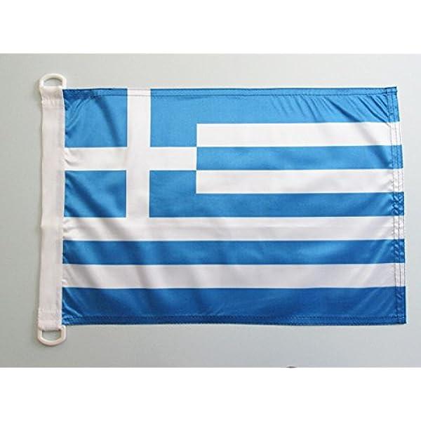 AZ FLAG Bandera Nautica de Grecia 45x30cm - Pabellón de conveniencia Griega 30 x 45 cm Anillos: Amazon.es: Hogar
