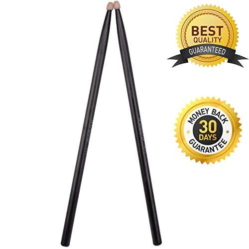 Drum Sticks 5A Drumsticks Classic Black Wood Tip Drumsticks (Black Drum Sticks)