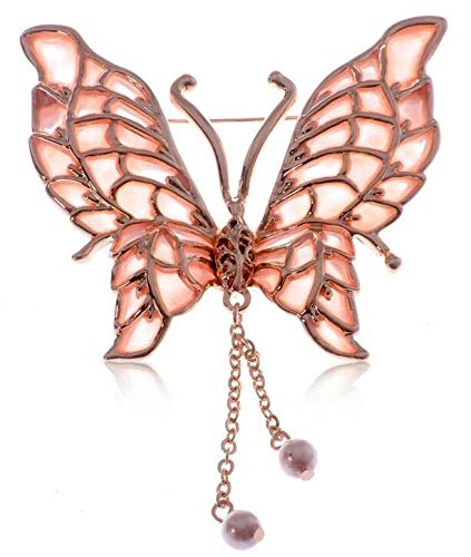 Large Silver White Filigree Butterfly Crystal Rhinestone Brooch Pin Jewelry Pin (Amount - B0696)