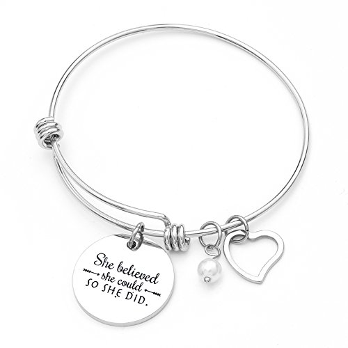 (RIVERTREE She Believed she Could so she did' Stainless Steel Inspirational Expandable Wire Bangle Bracelets W/Message Charm for Women)