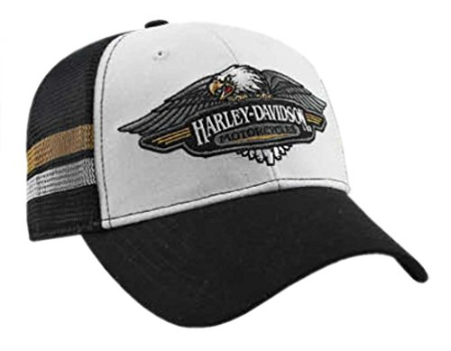 Harley-Davidson Mens Embroidered Vintage Logo Baseball Cap, Black/White BCC28988 (Harley Ball Cap)