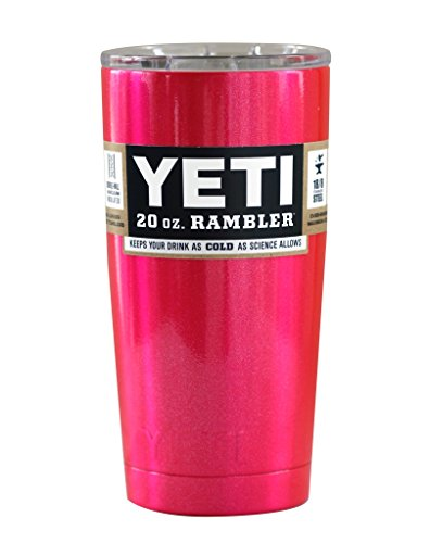 YETI Coolers Custom Powder Coated Insulated Stainless Steel 20 Ounce (20 oz) (20oz) Rambler Tumbler with Lid (Fuchsia Pink Shimmer)