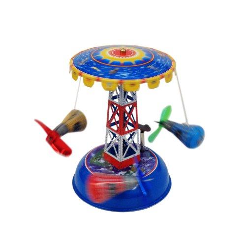 Vintage Style Tin Toy Space Capsule Carousel (Toy Carousel Tin)