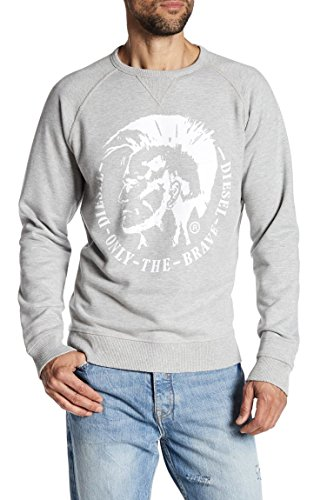 Diesel S-Orestes Mohican Head Pullover Crewneck Fashion Sweatshirt (X-Large, Mellange Grey)
