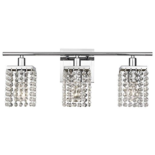 (3-Light Crystal Bathroom Vanity Light)