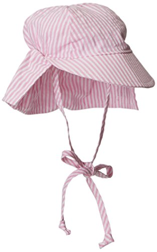 Flap Happy Baby Girls' UPF 50+ Original Light Weight Flap Hat with Ties, Pink Stripe Seersucker, Medium